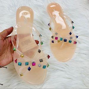 Nude multi studded jelly sandal